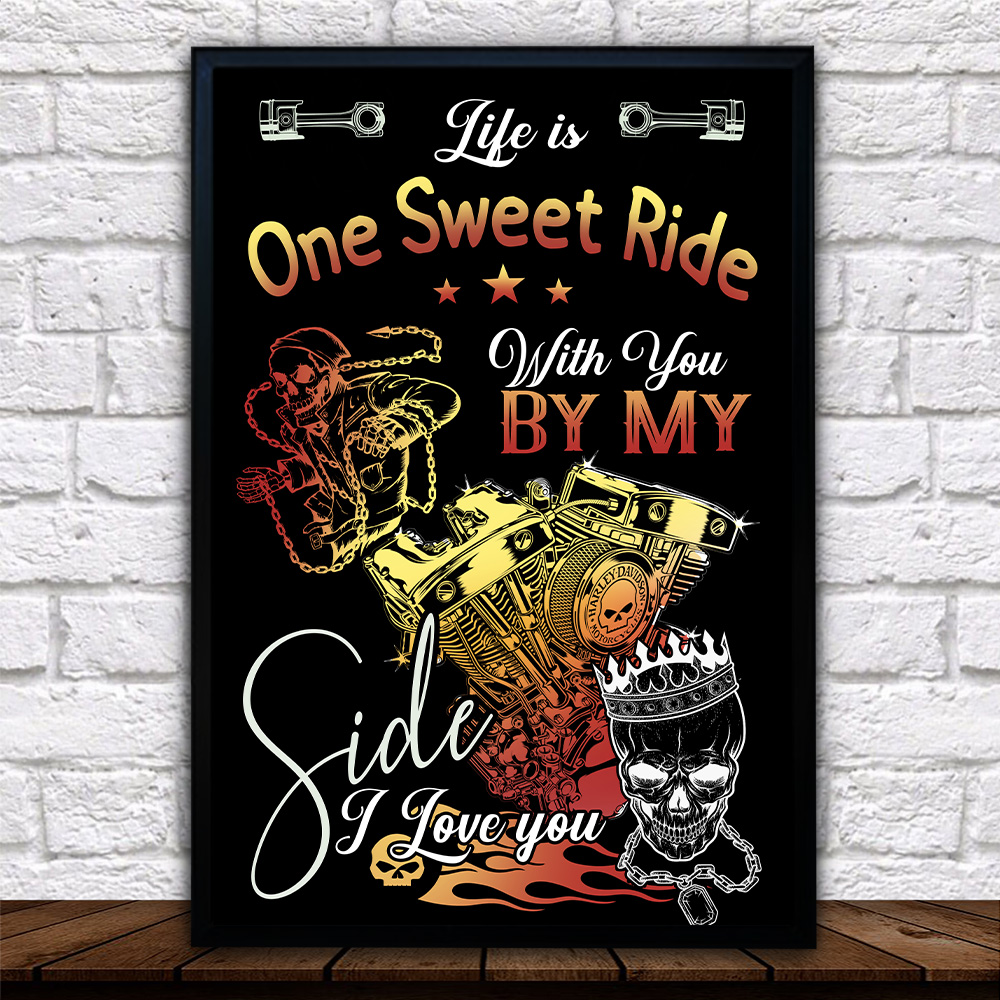 Personalized Wall Art Poster Canvas 1 Panel Life Is One Sweet Ride Wit You  By My Side I Love You Pattern 1 Great Idea For Living Home Decorations Birthday Christmas Aniversary