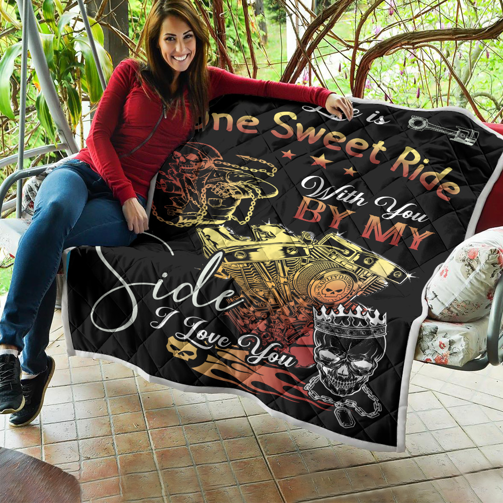 Personalized Quilt Throw Blanket Life Is One Sweet Ride Wit You  By My Side I Love You Pattern 1 Lightweight Super Soft Cozy For Decorative Couch Sofa Bed