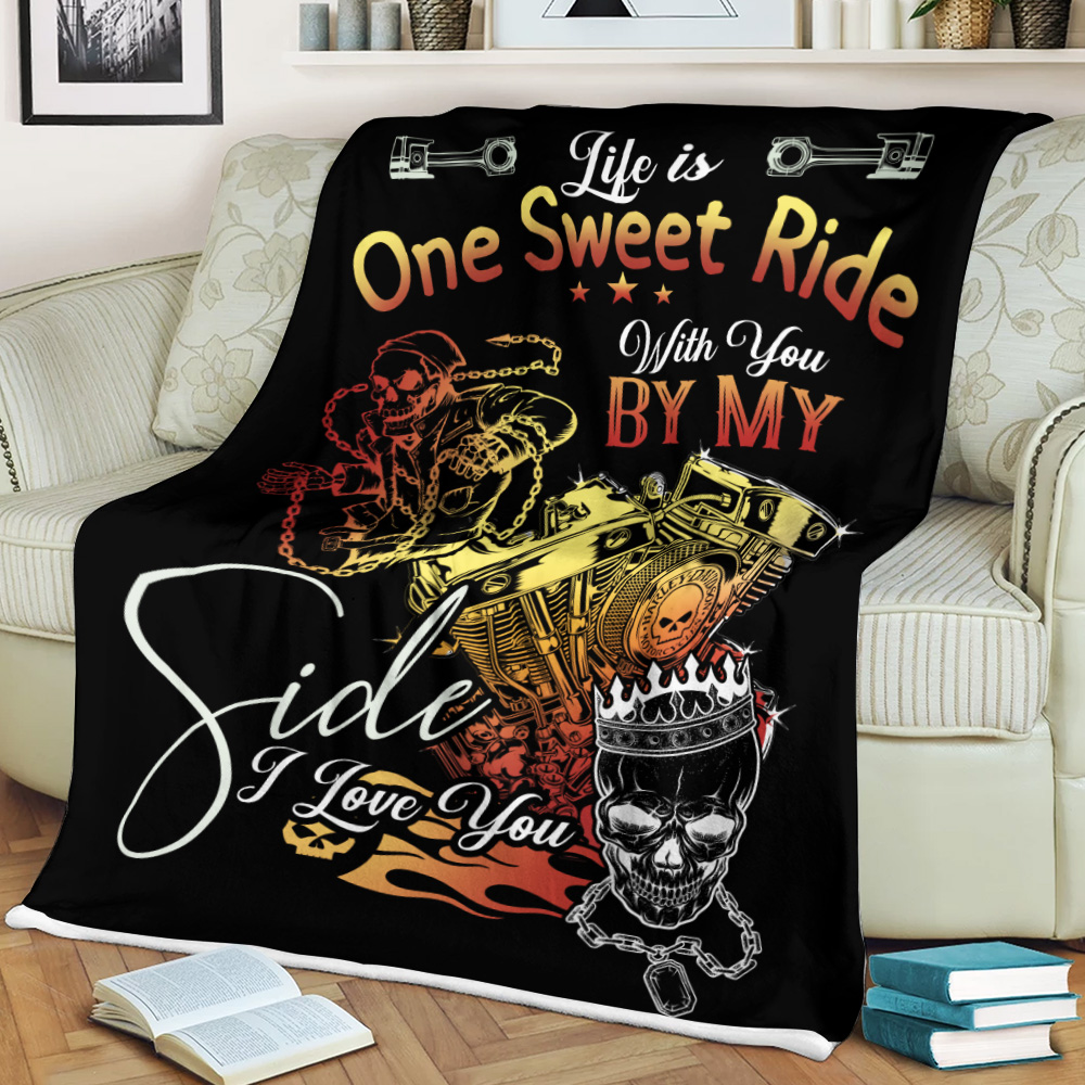Personalized Fleece Throw Blanket Life Is One Sweet Ride Wit You  By My Side I Love You Pattern 1 Lightweight Super Soft Cozy For Decorative Couch Sofa Bed