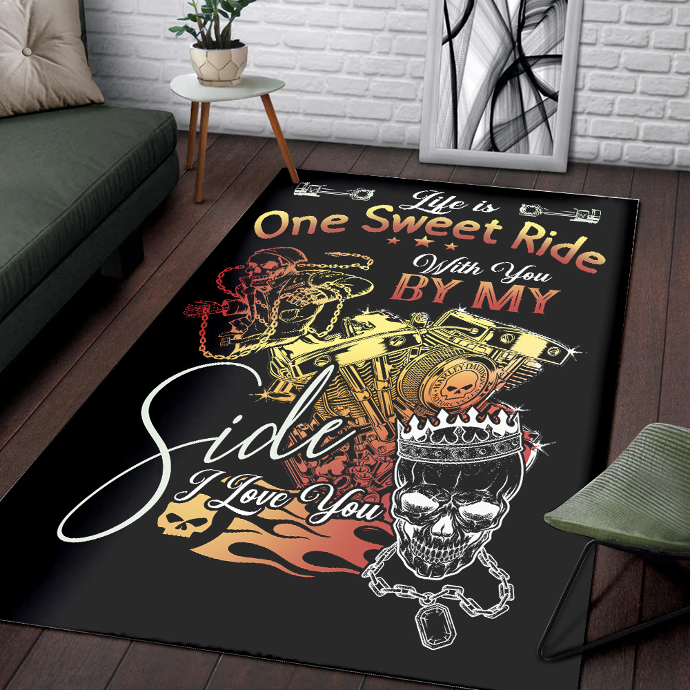 Personalized Floor Area Rugs Life Is One Sweet Ride Wit You  By My Side I Love You Pattern 1 Indoor Home Decor Carpets Suitable For Children Living Room Bedroom Birthday Christmas Aniversary