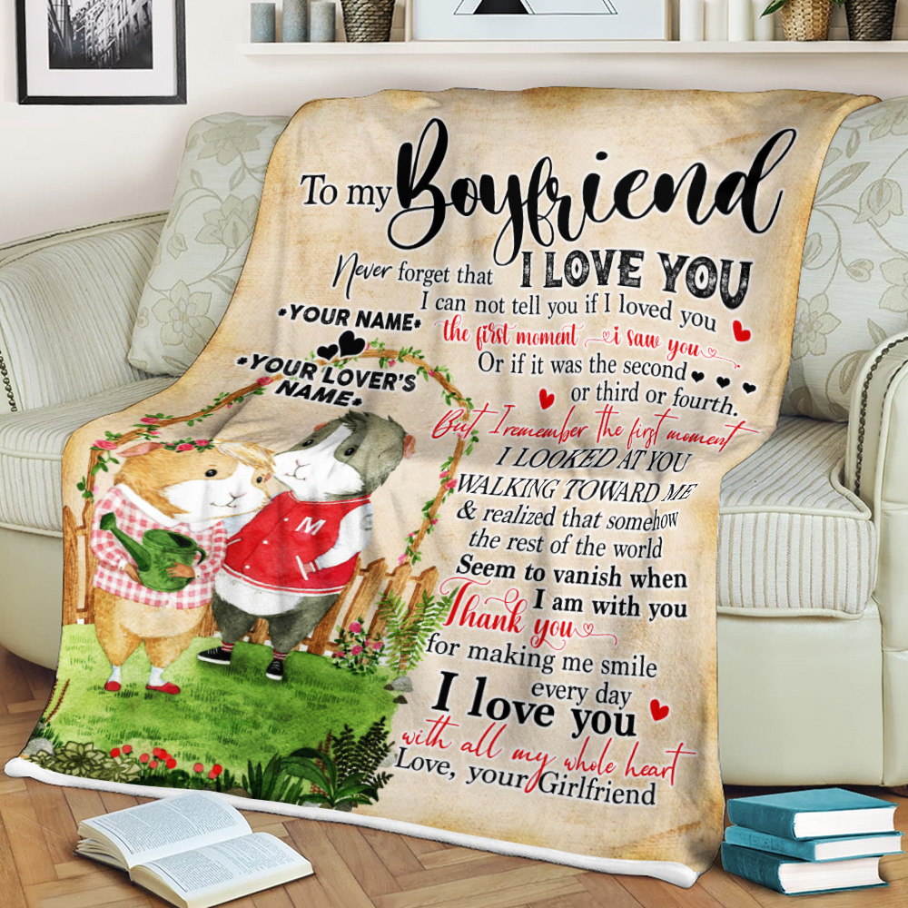 Personalized Lovely Fleece Throw Blanket To My Boyfriend Thank You For Making Me Smile Every Day Pattern 2 Lightweight Super Soft Cozy For Decorative Couch Sofa Bed
