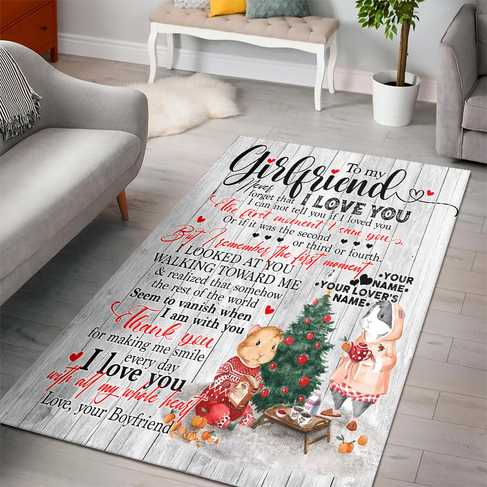 Personalized Lovely To My Girlfriend Thank You For Making Me Smile Every Day Pattern 1 Vintage Area Rug Anti-Skid Floor Carpet For Living Room Dinning Room Bedroom Office