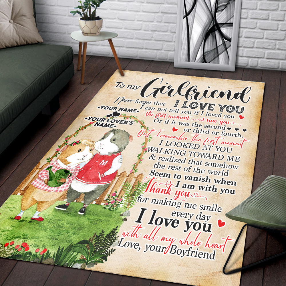 Personalized Lovely To My Girlfriend Thank You For Making Me Smile Every Day Pattern 2 Vintage Area Rug Anti-Skid Floor Carpet For Living Room Dinning Room Bedroom Office