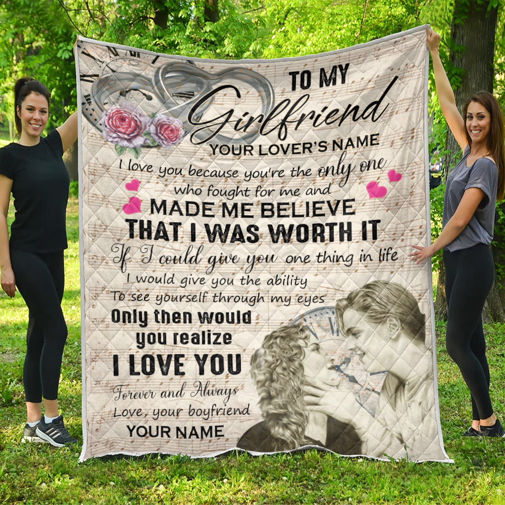 Personalized Lovely Quilt Throw Blanket To My Girlfriend I Love You Because You're The Only One Pattern 1 Lightweight Super Soft Cozy For Decorative Couch Sofa Bed