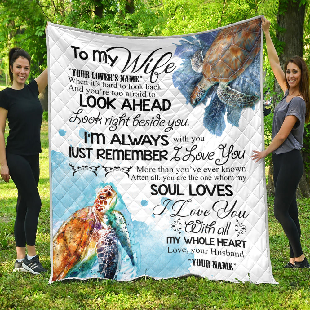Personalized Quilt Throw Blanket To My Wife I Love You With All My Whole Heart  Lightweight Super Soft Cozy For Decorative Couch Sofa Bed