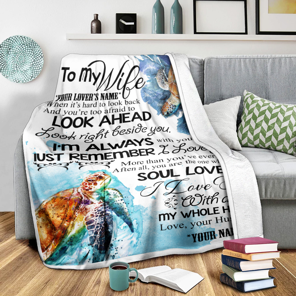 Personalized Fleece Throw Blanket To My Wife I Love You With All My Whole Heart  Lightweight Super Soft Cozy For Decorative Couch Sofa Bed