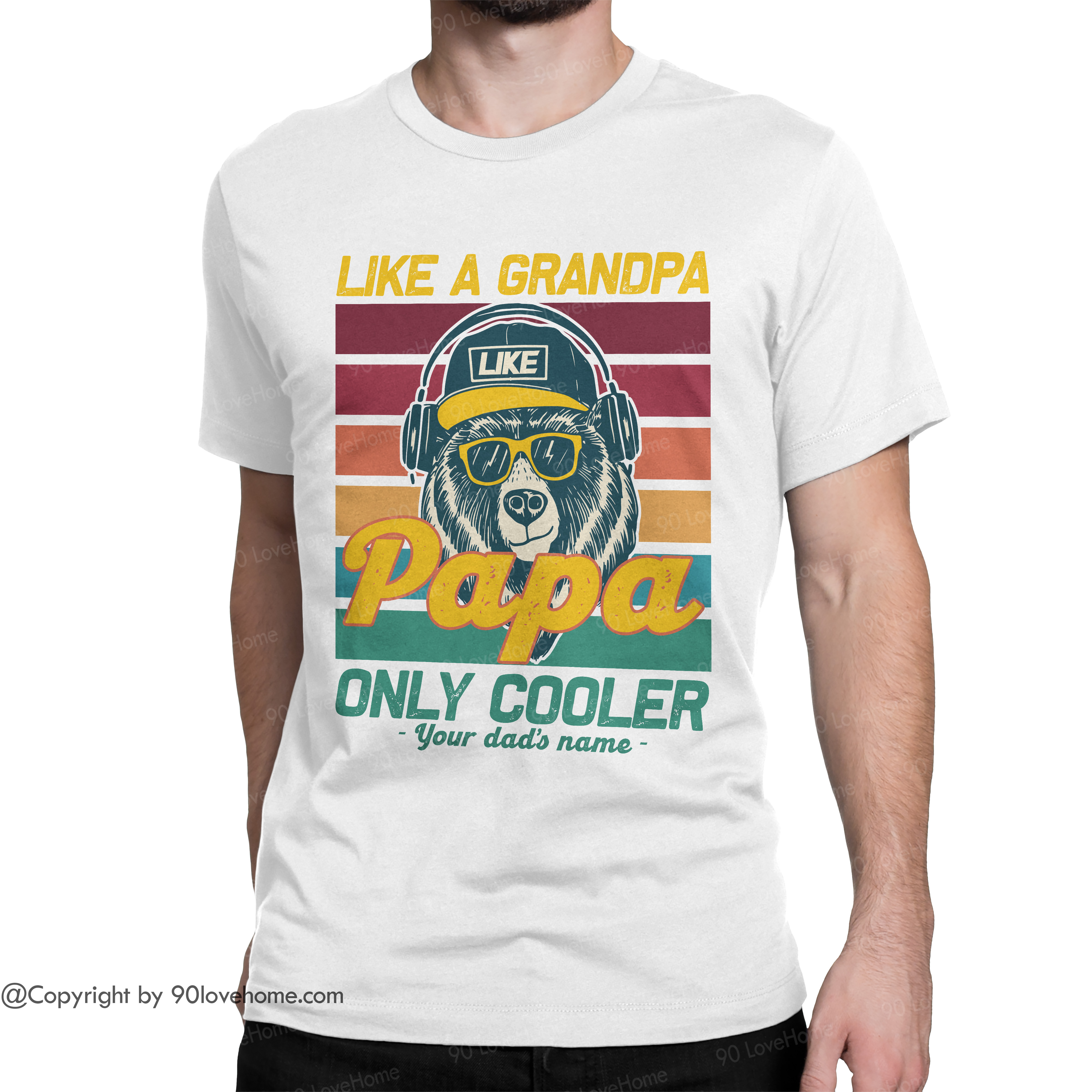 Personalized Vintage Papa Like A Granpa Only Cooler Unisex T-shirt Funny Dad Saying Tee Father's Day Birthday Gift For Dad 90LoveHome