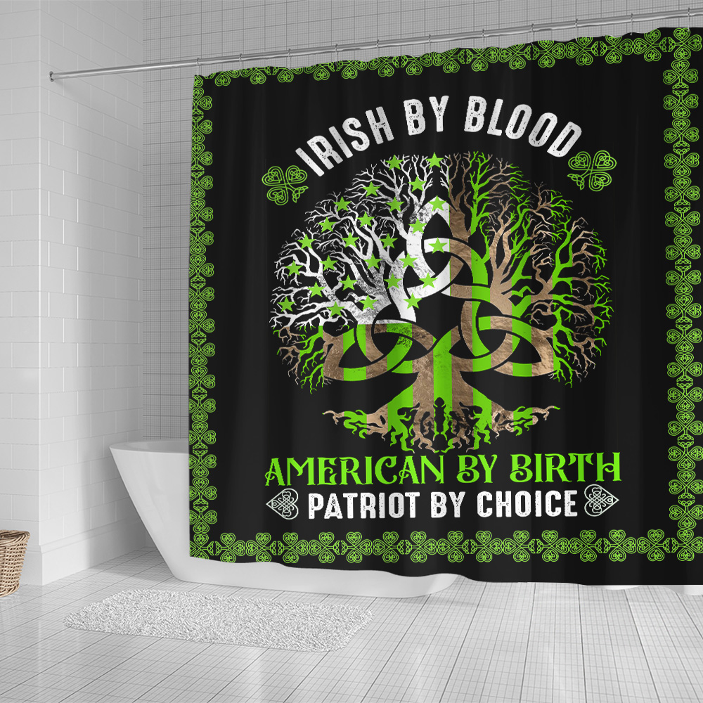 Personalized Lovely Shower Curtain St Patrick's Day Heart Irish By Blood American By Birth  Pattern 1 Set 12 Hooks Decorative Bath Modern Bathroom Accessories Machine Washable