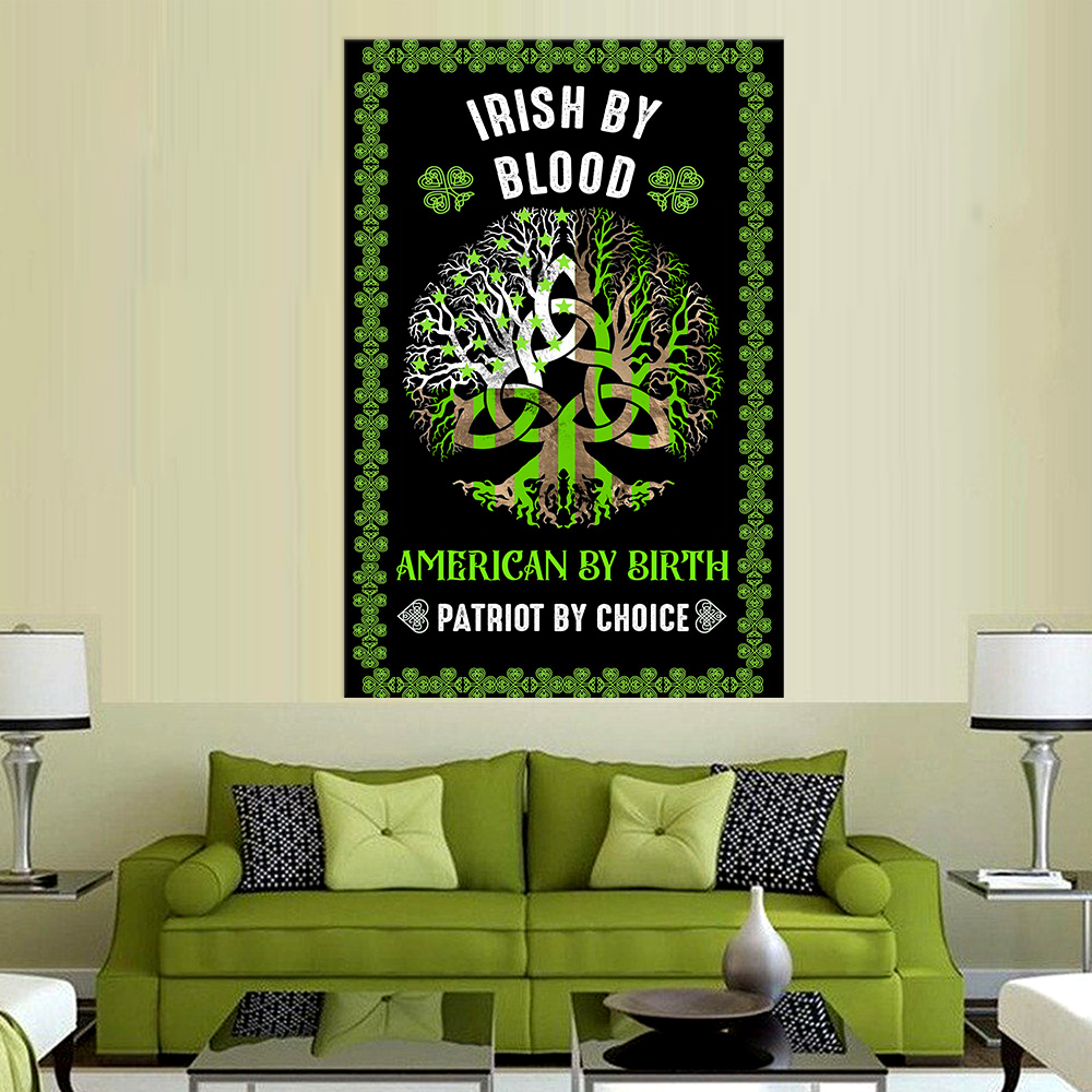Personalized Lovely Wall Art Poster St Patrick's Day Heart Irish By Blood American By Birth Pattern1 Prints Decoracion Wall Art Picture Living Room Wall