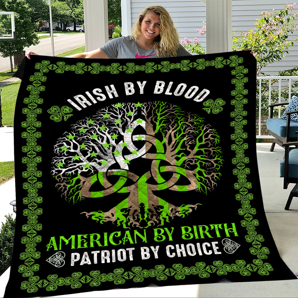 Personalized Lovely Quilt Throw Blanket St Patrick's Day Heart Irish By Blood American By Birth Pattern1 Lightweight Super Soft Cozy For Decorative Couch Sofa Bed