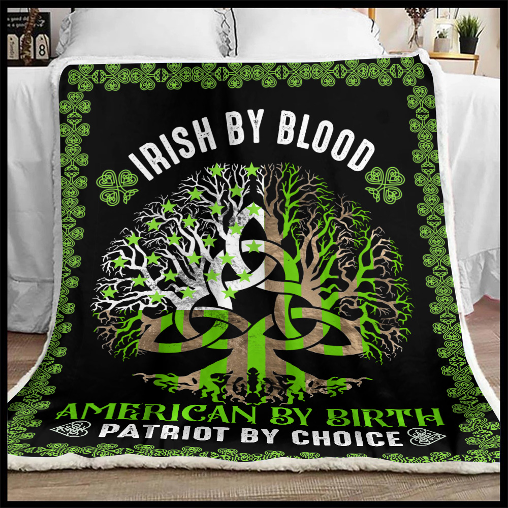 Personalized Lovely Fleece Throw Blanket St Patrick's Day Heart Irish By Blood American By Birth Pattern1 Lightweight Super Soft Cozy For Decorative Couch Sofa Bed
