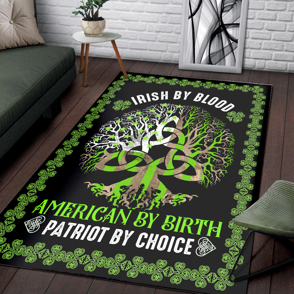 Personalized Lovely St Patrick's Day Heart Irish By Blood American By Birth Pattern1 Vintage Area Rug Anti-Skid Floor Carpet For Living Room Dinning Room Bedroom Office