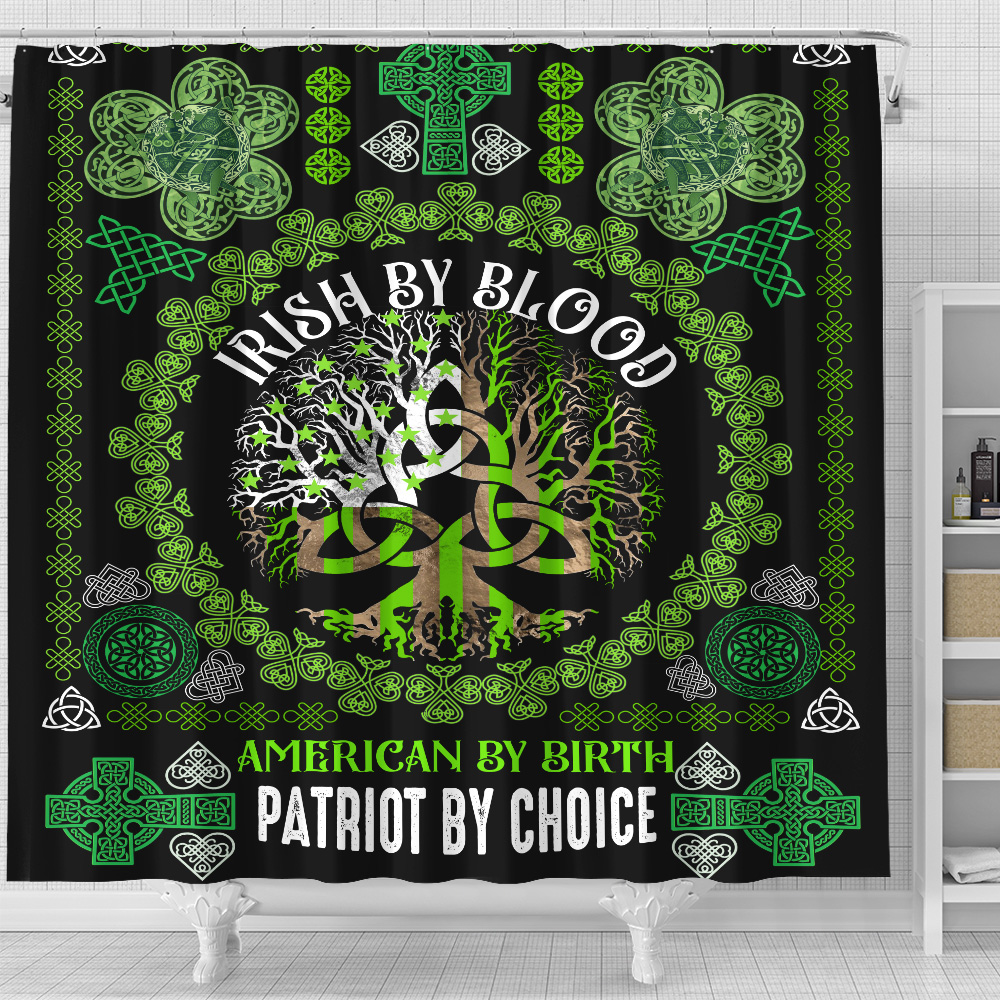 Personalized Lovely Shower Curtain St Patrick's Day Heart Irish By Blood American By Birth Pattern 2 Set 12 Hooks Decorative Bath Modern Bathroom Accessories Machine Washable