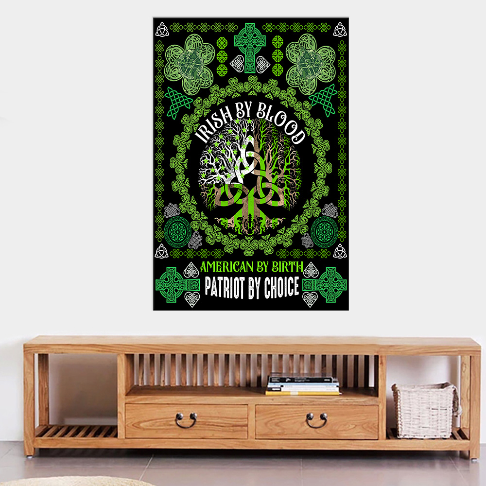 Personalized Lovely Wall Art Poster St Patrick's Day Heart Irish By Blood American By Birth Pattern 2 Prints Decoracion Wall Art Picture Living Room Wall