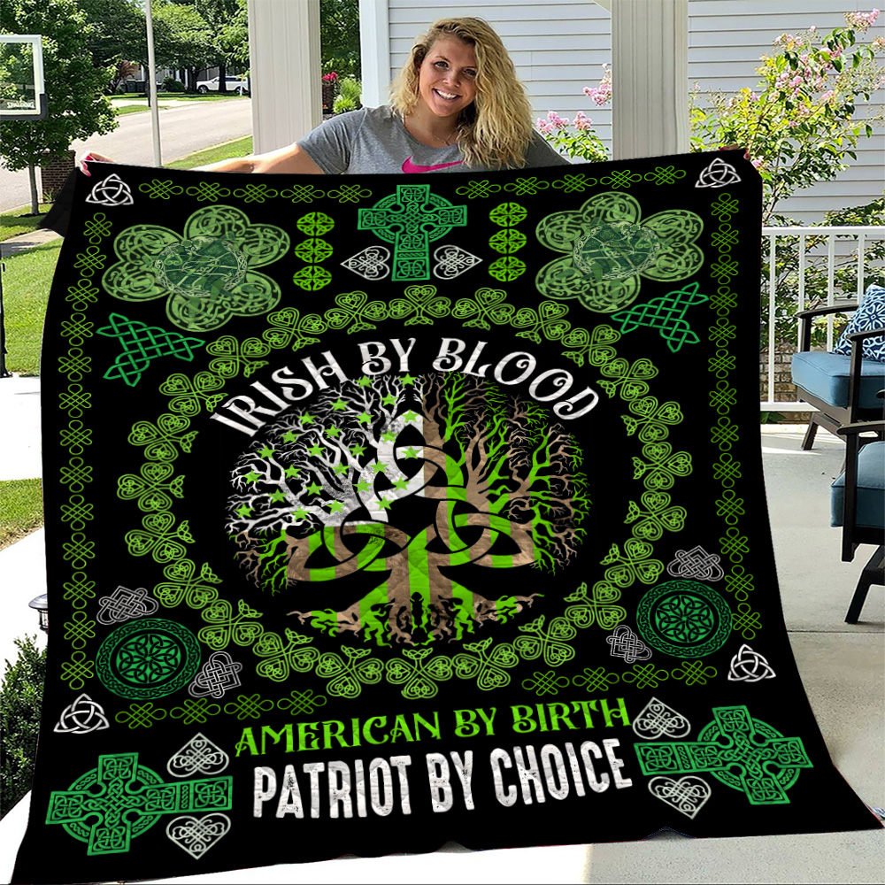 Personalized Lovely Quilt Throw Blanket St Patrick's Day Heart Irish By Blood American By Birth Pattern 2 Lightweight Super Soft Cozy For Decorative Couch Sofa Bed