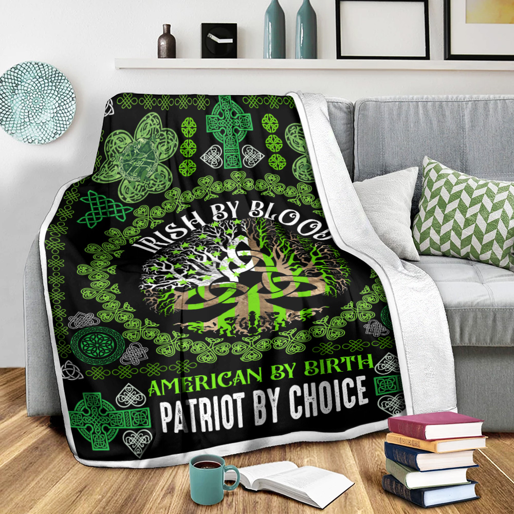 Personalized Lovely Fleece Throw Blanket St Patrick's Day Heart Irish By Blood American By Birth Pattern 2 Lightweight Super Soft Cozy For Decorative Couch Sofa Bed