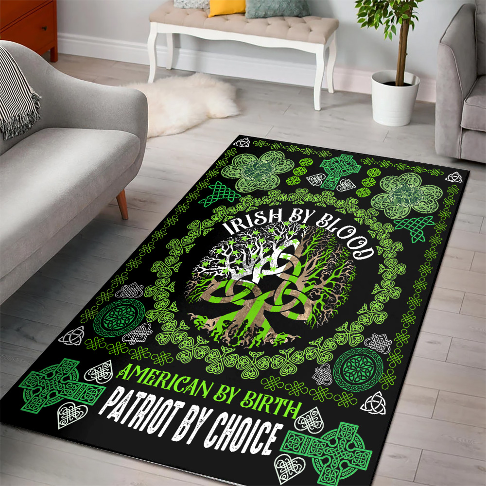 Personalized Lovely St Patrick's Day Heart Irish By Blood American By Birth Pattern 2 Vintage Area Rug Anti-Skid Floor Carpet For Living Room Dinning Room Bedroom Office