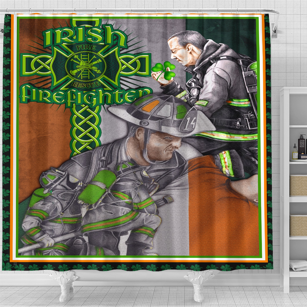 Personalized Lovely Shower Curtain St Patrick's Day Heart Irish Firefighters Pattern 1 Set 12 Hooks Decorative Bath Modern Bathroom Accessories Machine Washable