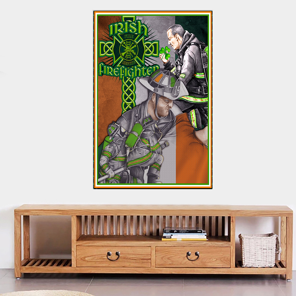 Personalized Lovely Wall Art Poster St Patrick's Day Heart Irish Firefighters Pattern 1 Prints Decoracion Wall Art Picture Living Room Wall