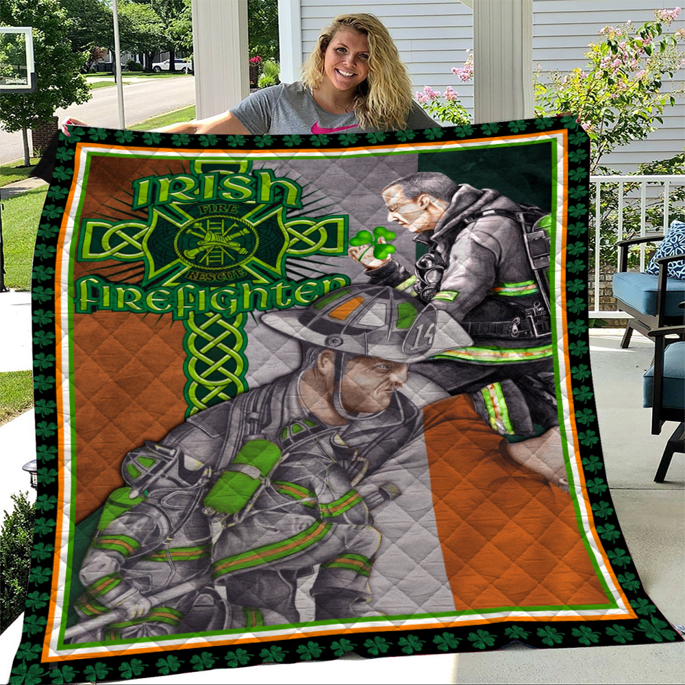 Personalized Lovely Quilt Throw Blanket St Patrick's Day Heart Irish Firefighters Pattern 1 Lightweight Super Soft Cozy For Decorative Couch Sofa Bed