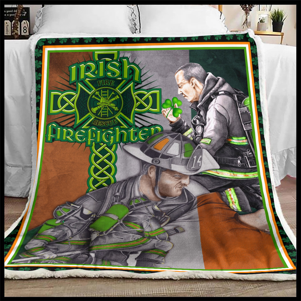 Personalized Lovely Fleece Throw Blanket St Patrick's Day Heart Irish Firefighters Pattern 1 Lightweight Super Soft Cozy For Decorative Couch Sofa Bed