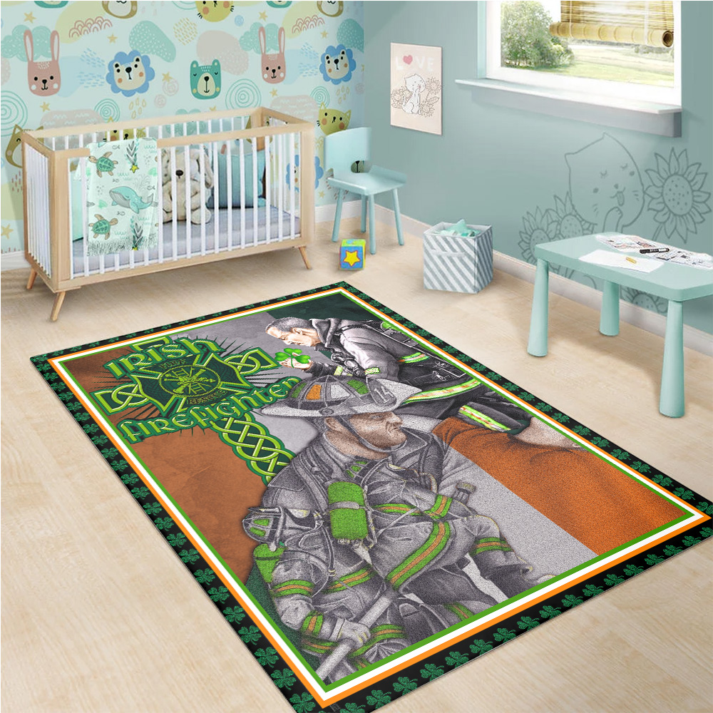 Personalized Lovely St Patrick's Day Heart Irish Firefighters Pattern 1 Vintage Area Rug Anti-Skid Floor Carpet For Living Room Dinning Room Bedroom Office