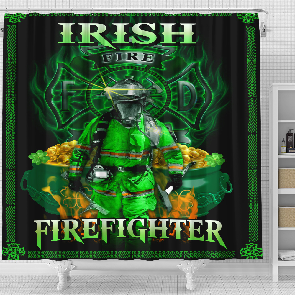 Personalized Lovely Shower Curtain St Patrick's Day Heart Irish Firefighters Pattern 2 Set 12 Hooks Decorative Bath Modern Bathroom Accessories Machine Washable