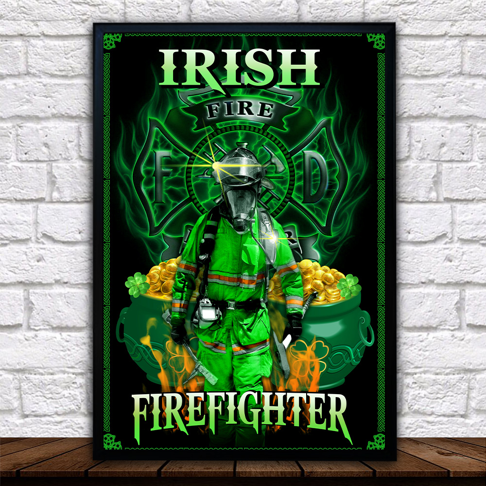 Personalized Lovely Wall Art Poster St Patrick's Day Heart Irish Firefighters Pattern 2 Prints Decoracion Wall Art Picture Living Room Wall