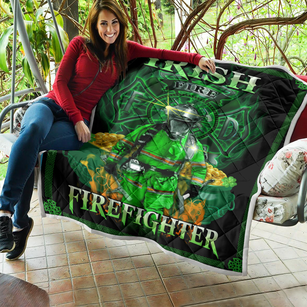 Personalized Lovely Quilt Throw Blanket St Patrick's Day Heart Irish Firefighters Pattern 2 Lightweight Super Soft Cozy For Decorative Couch Sofa Bed