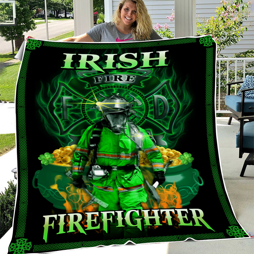 Personalized Lovely Fleece Throw Blanket St Patrick's Day Heart Irish Firefighters Pattern 2 Lightweight Super Soft Cozy For Decorative Couch Sofa Bed