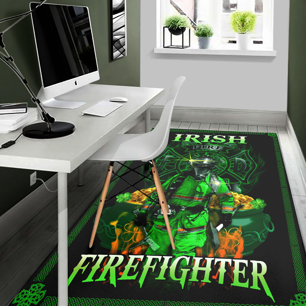 Personalized Lovely St Patrick's Day Heart Irish Firefighters Pattern 2 Vintage Area Rug Anti-Skid Floor Carpet For Living Room Dinning Room Bedroom Office
