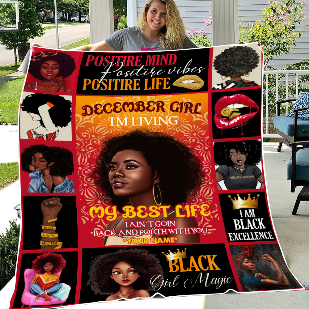 Personalized Fleece Throw Blanket December Girl I'm Living My Best Life Pattern 1 Lightweight Super Soft Cozy For Decorative Couch Sofa Bed