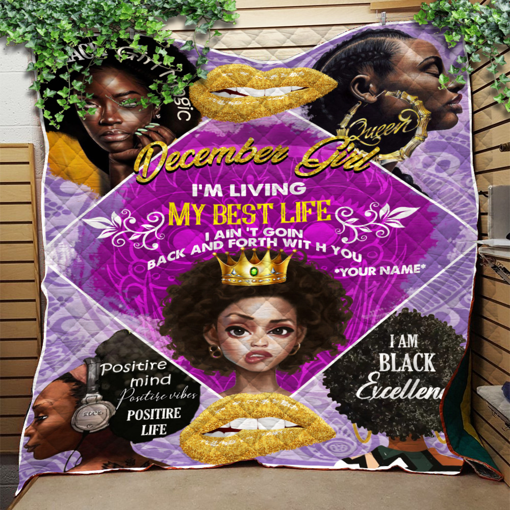 Personalized Quilt Throw Blanket December Girl I'm Living My Best Life Pattern 2 Lightweight Super Soft Cozy For Decorative Couch Sofa Bed