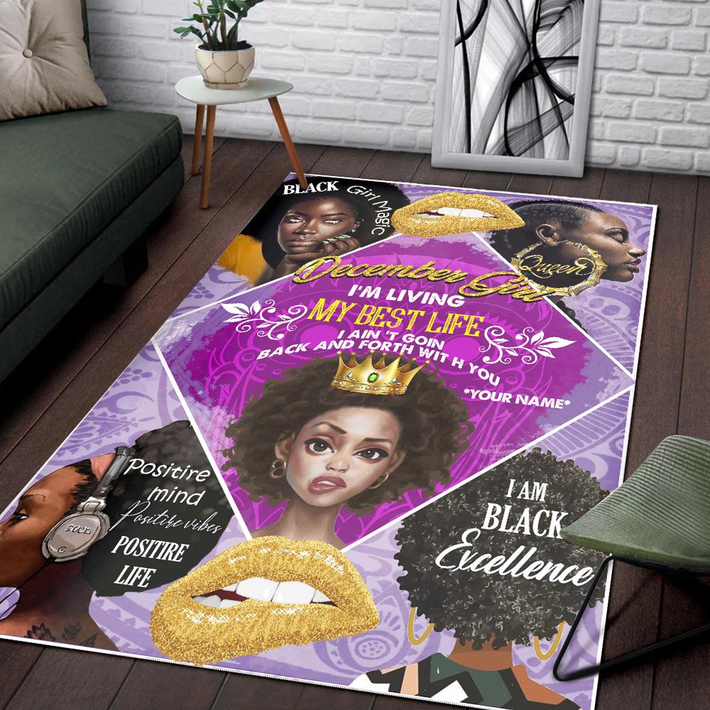 Personalized December Girl I'm Living My Best Life Pattern 2 Vintage Area Rug Anti-Skid Floor Carpet For Living Room Dinning Room Bedroom Office