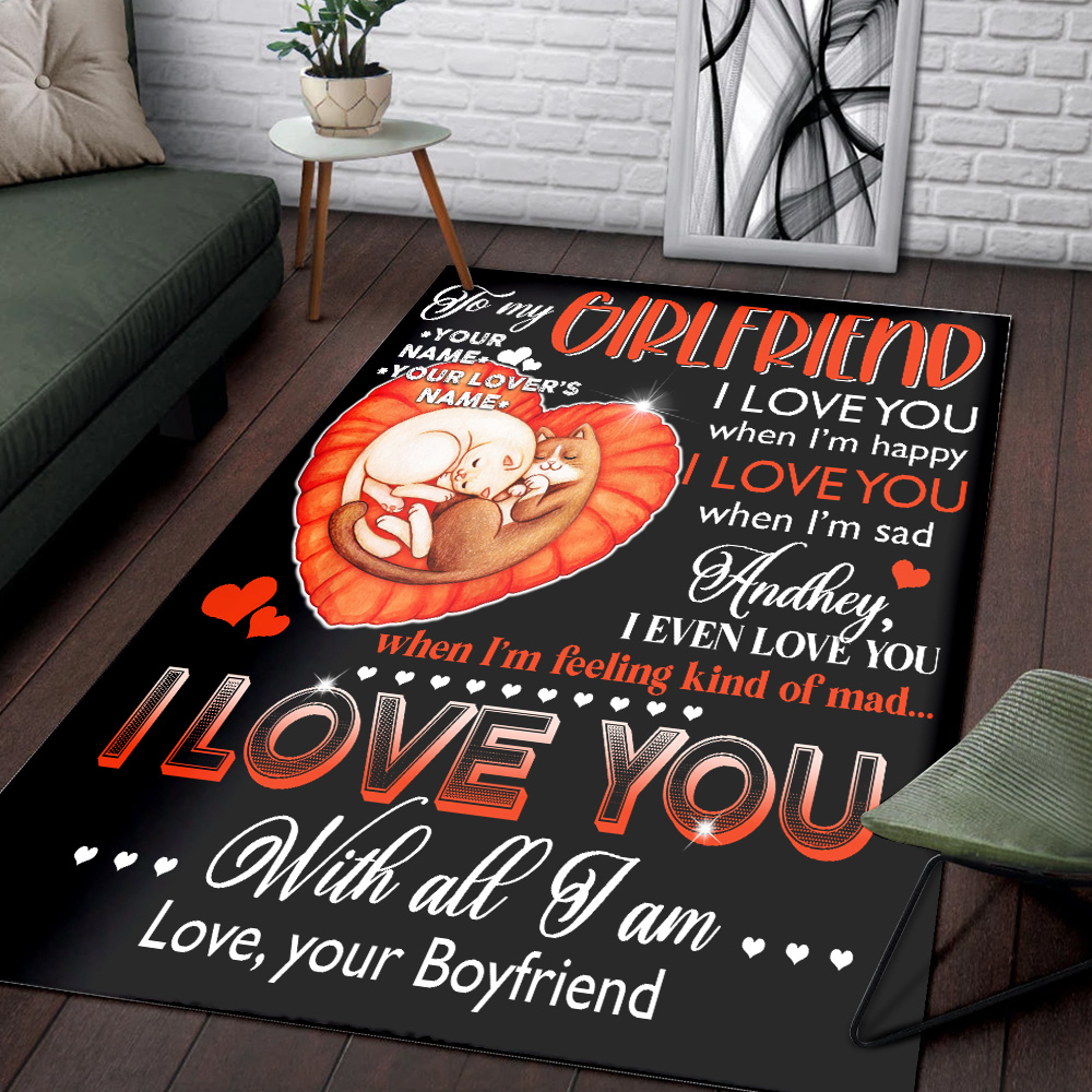 Personalized Lovely To My Girlfriend I Love You With All Pattern 1 Vintage Area Rug Anti-Skid Floor Carpet For Living Room Dinning Room Bedroom Office