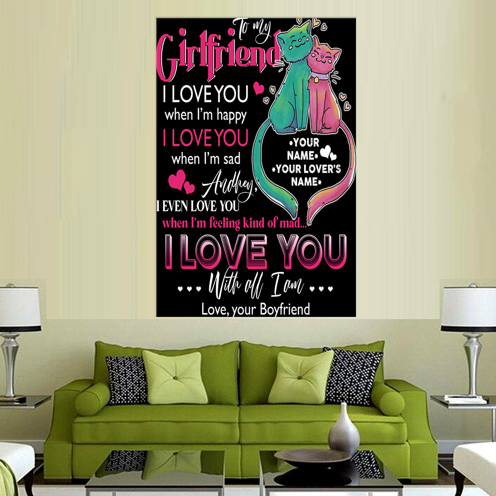 Personalized Lovely Wall Art Poster To My Girlfriend I Love You With All Pattern 2 Prints Decoracion Wall Art Picture Living Room Wall