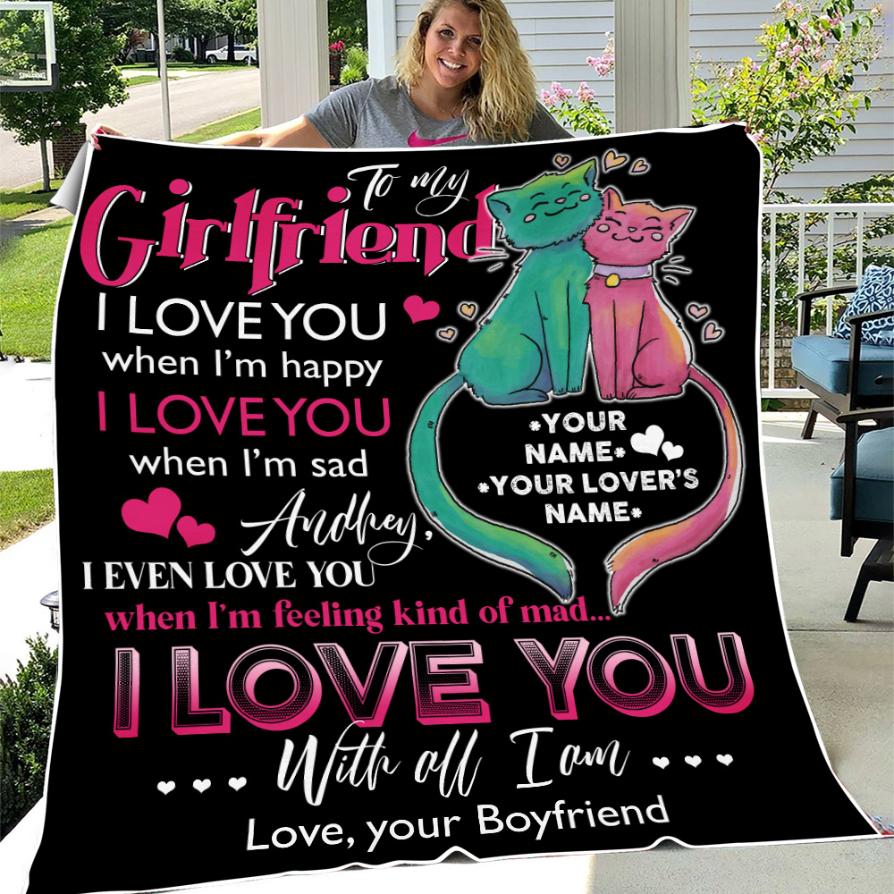 Personalized Lovely Fleece Throw Blanket To My Girlfriend I Love You With All Pattern 2 Lightweight Super Soft Cozy For Decorative Couch Sofa Bed