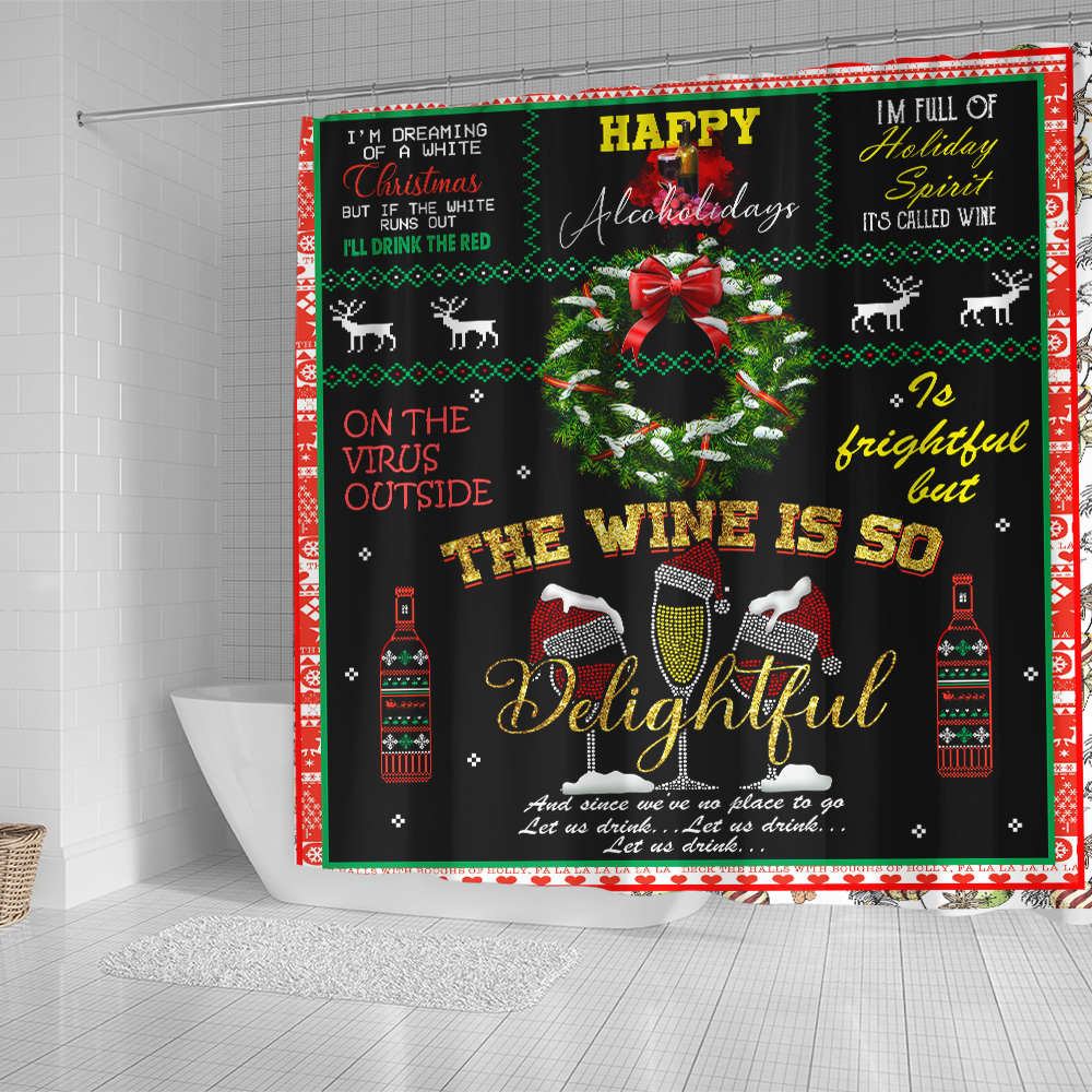 Personalized Shower Curtain 71 X 71 Inch Oh The Virus Outside Is Frightful But The Wine Is So Delightful Pattern1 Set 12 Hooks Decorative Bath Modern Bathroom Accessories Machine Washable