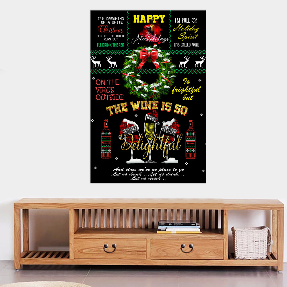 Personalized Wall Art Poster Canvas 1 Panel Oh The Virus Outside Is Frightful But The Wine Is So Delightful Pattern1 Great Idea For Living Home Decorations Birthday Christmas Aniversary