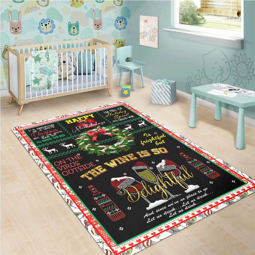 Personalized Floor Area Rugs Oh The Virus Outside Is Frightful But The Wine Is So Delightful Indoor Home Decor Carpets Suitable For Children Living Room Bedroom Birthday Christmas Aniversary