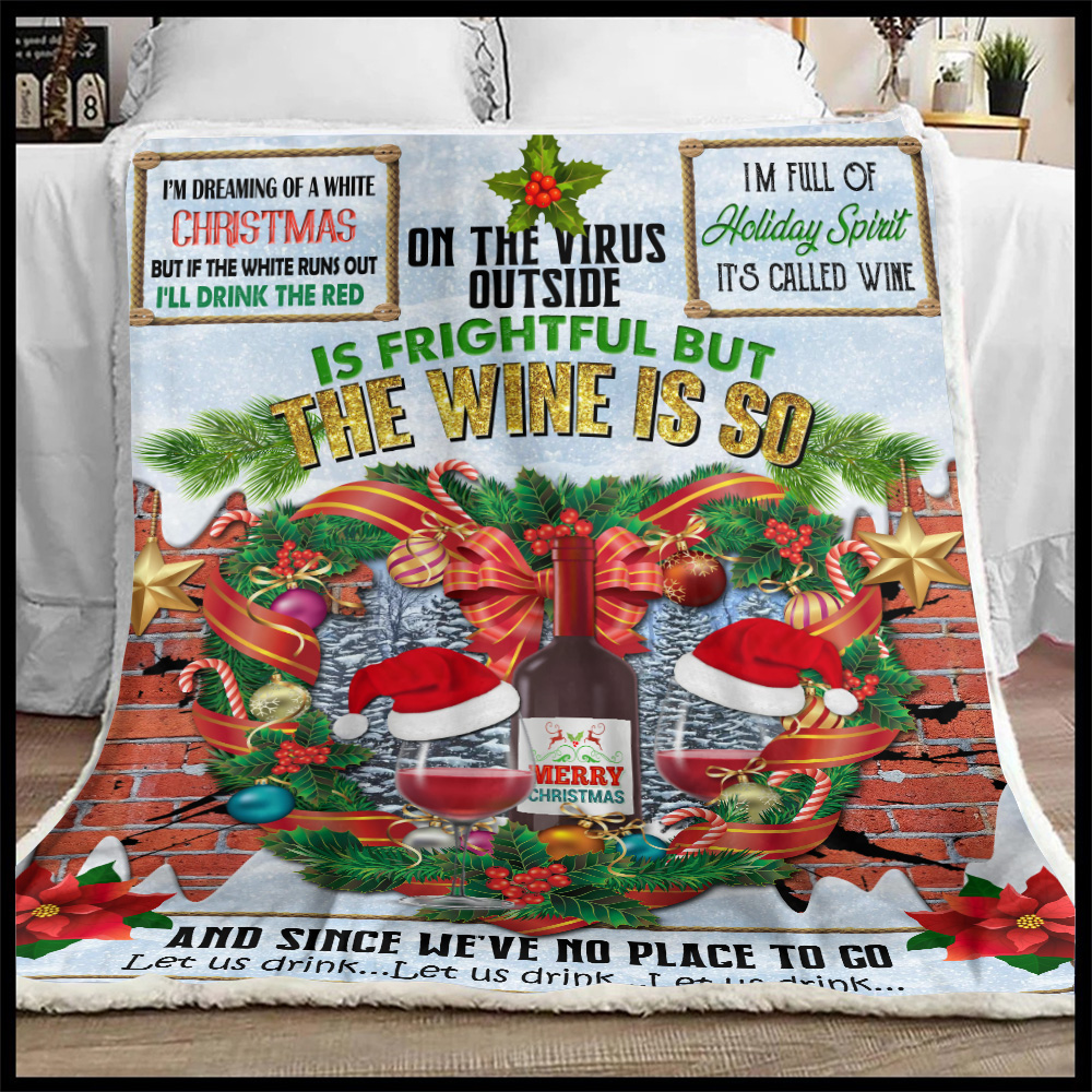 Personalized Fleece Throw Blanket Oh The Virus Outside Is Frightful But The Wine Is So Delightful Pattern 2 Lightweight Super Soft Cozy For Decorative Couch Sofa Bed