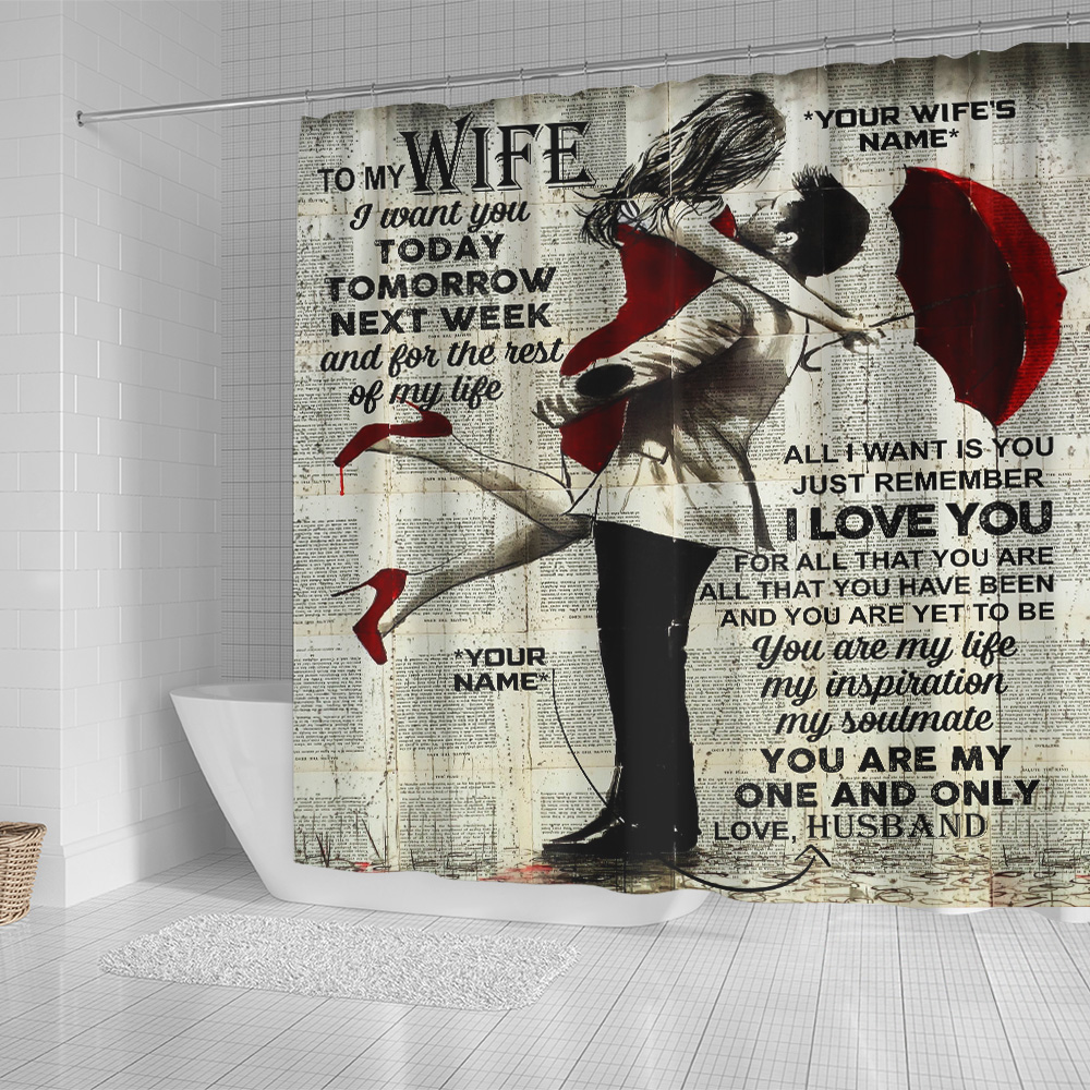 Personalized Shower Curtain 71 X 71 Inch To My Wife I Want You For The Rest Of My Life Set 12 Hooks Decorative Bath Modern Bathroom Accessories Machine Washable