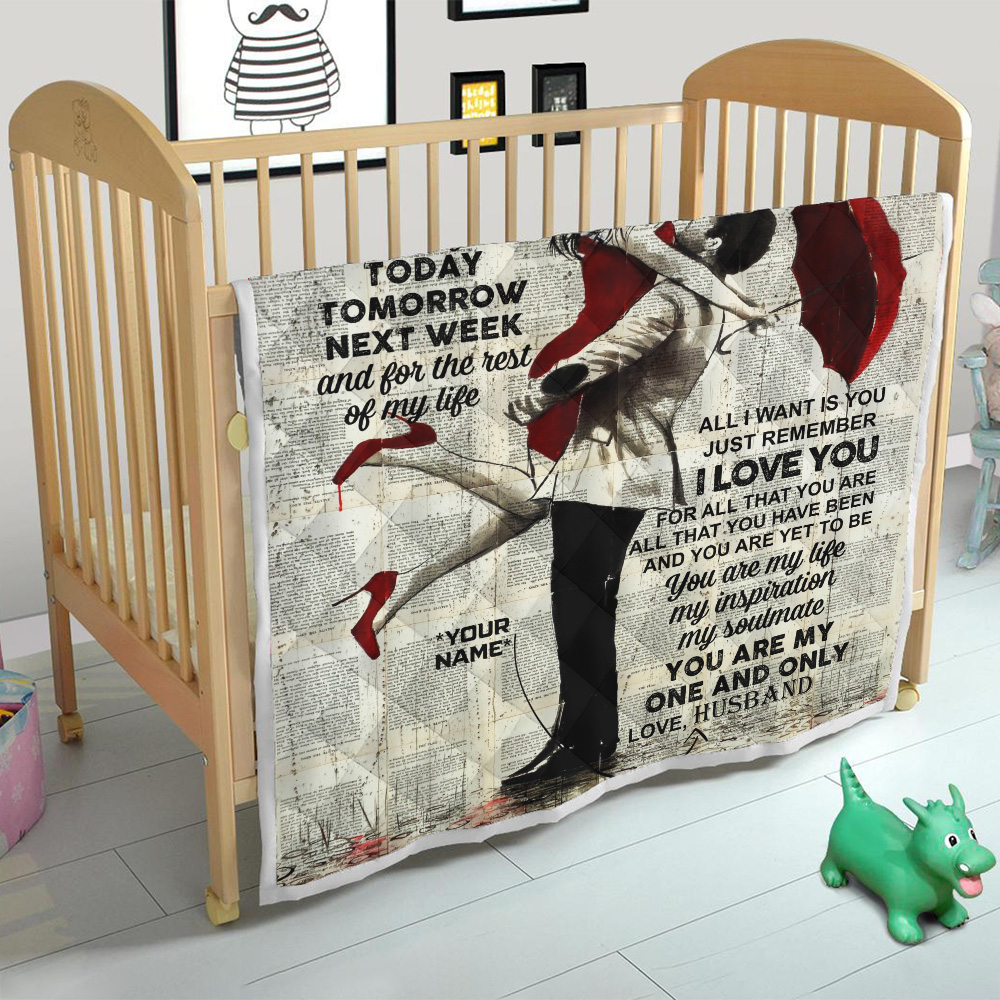 Personalized Quilt Throw Blanket To My Wife I Want You For The Rest Of My Life Lightweight Super Soft Cozy For Decorative Couch Sofa Bed