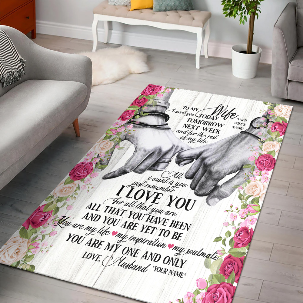 Personalized Floor Area Rugs To My Wife I Want You For The Rest Of My Life Indoor Home Decor Carpets Suitable For Children Living Room Bedroom Birthday Christmas Aniversary