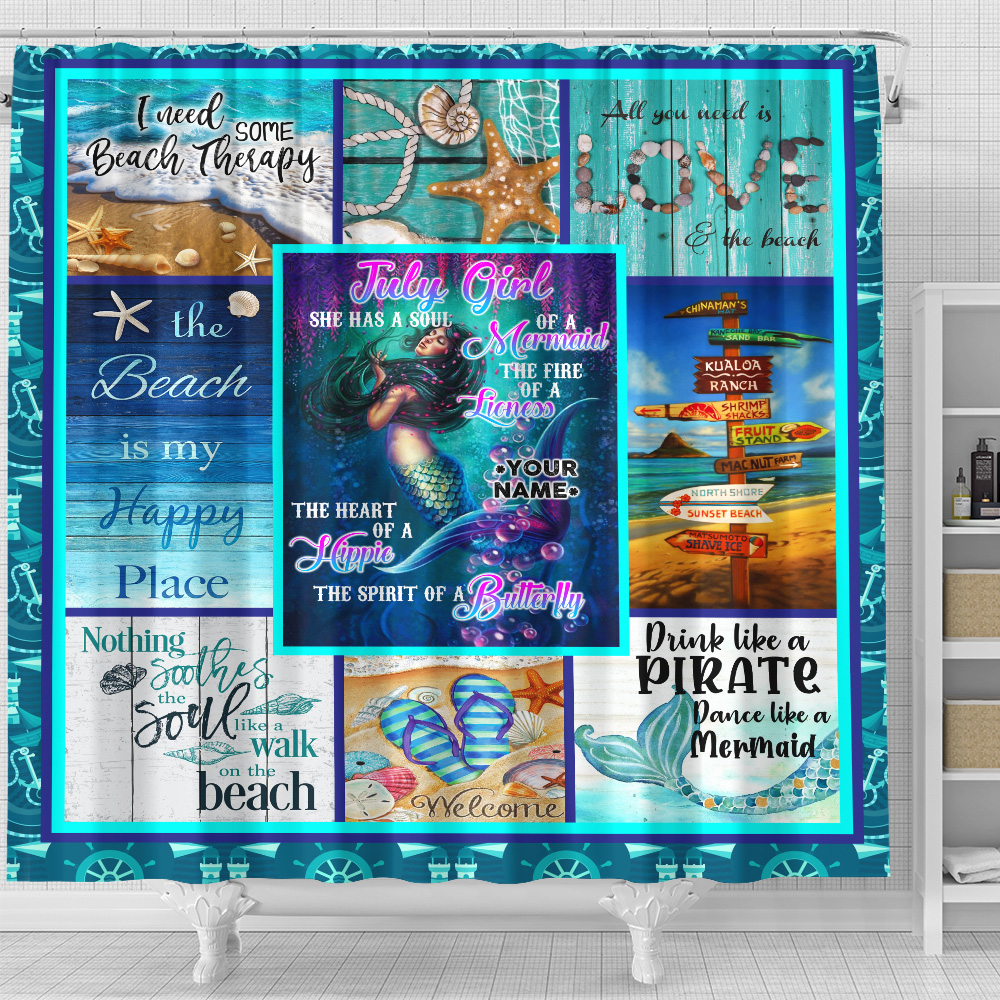 Personalized Shower Curtain July Girl A Soul Of A Mermaid Pattern 1 Set 12 Hooks Decorative Bath Modern Bathroom Accessories Machine Washable