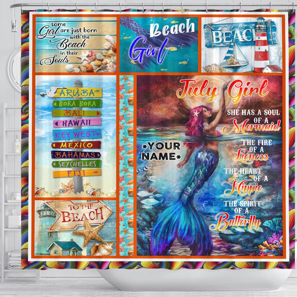 Personalized Shower Curtain July Girl A Soul Of A Mermaid Pattern 2 Set 12 Hooks Decorative Bath Modern Bathroom Accessories Machine Washable