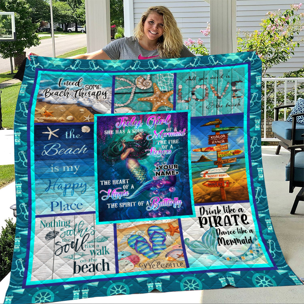 Personalized Quilt Throw Blanket July Girl A Soul Of A Mermaid Pattern 1 Lightweight Super Soft Cozy For Decorative Couch Sofa Bed