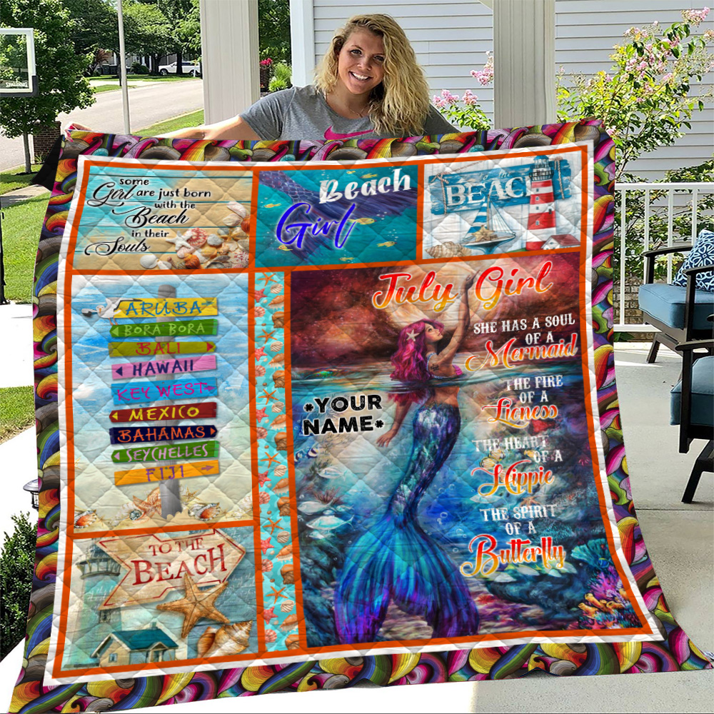 Personalized Quilt Throw Blanket July Girl A Soul Of A Mermaid Pattern 2 Lightweight Super Soft Cozy For Decorative Couch Sofa Bed