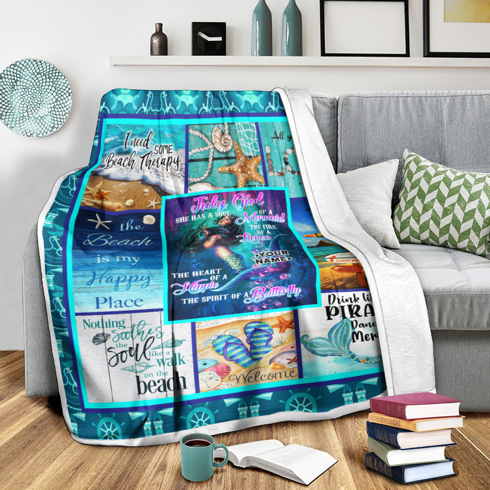 Personalized Fleece Throw Blanket July Girl A Soul Of A Mermaid Pattern 1 Lightweight Super Soft Cozy For Decorative Couch Sofa Bed