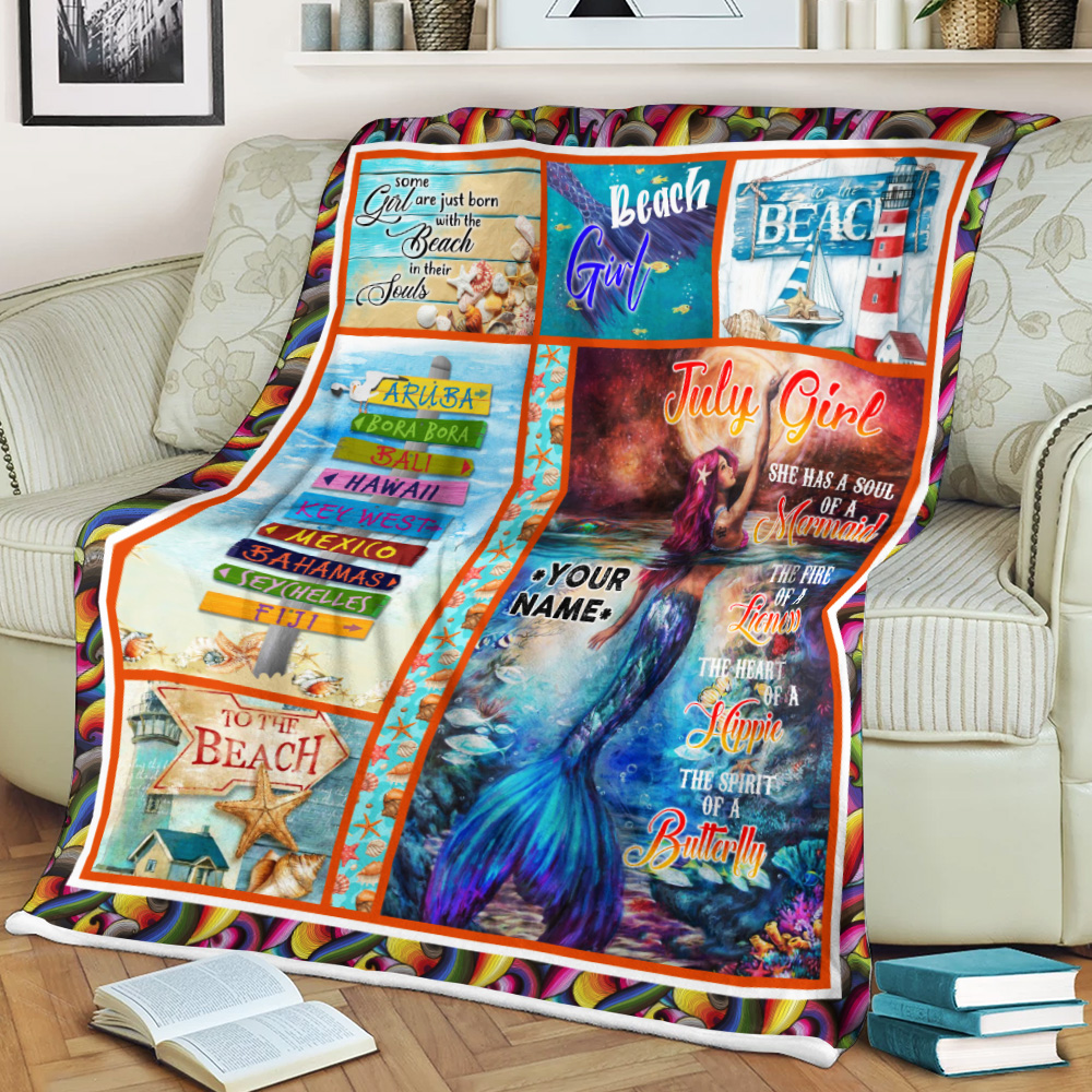 Personalized Fleece Throw Blanket July Girl A Soul Of A Mermaid Pattern 2 Lightweight Super Soft Cozy For Decorative Couch Sofa Bed